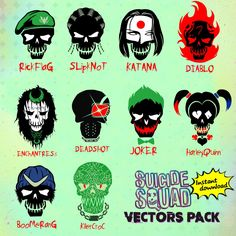 suicide squad movie vectors, 10 clipart, Get instantly 10 SVG, eps, PNG and AI editable files with Full resolution and detail by fivedollarsvector on Etsy