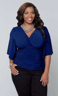 Plus Size Keira Kimono Sleeve Top, Royal Blue