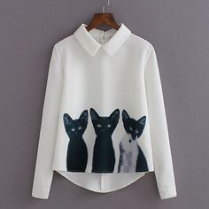 Find More Blouses & Shirts Information about New Cat Pattern Hipster Womens Tops Fashion 2015 Long Sleeve Shirt Women Shirts Chiffon Camisas Mujer Meow Camicia Donna C73,High Quality shirt pearl,China shirt collar size chart Suppliers, Cheap shirt bag from H-O-M FASHION STORE on Aliexpress.com