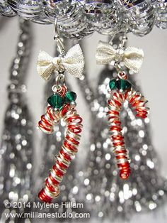 Mill Lane Studio: Fun and Whimsy - Day 3 - Twelve Days of Christmas 2014. Whimsical Candy Cane Earrings made with a simple wire technique.