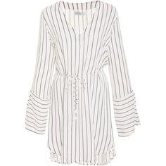 Faithfull Neroli Ruching Dress (1.867.320 IDR) ❤ liked on Polyvore featuring dresses, stripe, white deep v neck dress, white stripe dress, white day dress, scrunch dress and ruched dress