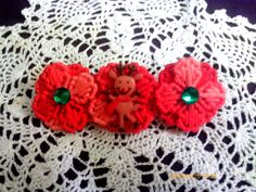 Reindeer and Red swirl Flower Barrette by angelsandcrafts on Etsy, $5.00
