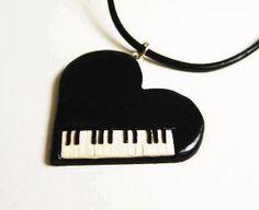 Piano keyboard heart necklace