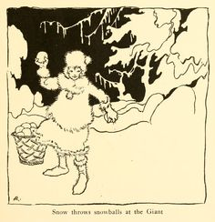 Snow throws snowballs at the Giant - Snickerty Nick by Julia Ellsworth Ford, Rhymes by Witter Bynner, 1919