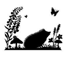 Little Claire: Acrylic Stamps - Laura Barrett - Illustration Portfolio - London Based Freelance Silhouette & Pattern Illustrator Paper Cutting, Animal Silhouette, Tree Silhouette, Kirigami, Photographie Street Art, Hedgehog Illustration, Animal Cutouts, Hedgehog Art, Wood Burning Patterns