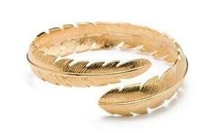 """CC Skye Feather Bangle in Gold CC Skye. $54.00. 18kt gold plated. Includes a CC Skye box. 3/4"""" w x 2.5"""" d. Save 10%!"""
