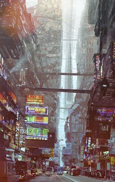 Science fiction illustration fantasy art future city Ideas for 2019 Cyberpunk City, Arte Cyberpunk, Futuristic City, Environment Concept Art, Environment Design, Future City, Fantasy Kunst, Fantasy Art, Science Fiction