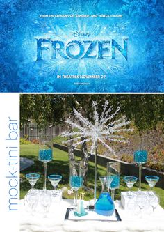 Frozen Party Ideas - Frozen Mock-tini Drinks Bar #DisneySide