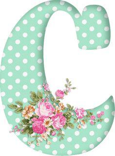 PAPIROLAS COLORIDAS: Abecedario con flores. Letras mayúsculas verdes, puntos blancos. Letra C.