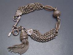 Antique Victorian Etruscan Rev Silver Watch Chain Fob Ball Charm Bracelet Bangle