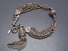 Antique Victorian Etruscan Rev Silver Watch Chain Fob Ball Charm Bracelet Bangle