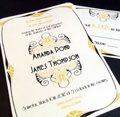 Art Deco vintage style Save The Date Wedding Invitation Art Deco Wedding Stationery, Art Deco Wedding Invitations, Wedding Stationary, Invites, Invitation Suite, Chic Vintage Brides, Vintage Style, Peacock Art, Wedding Paper