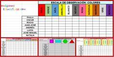 Registros de Observación 3-4-5 años, hojas de cálculo. Editables