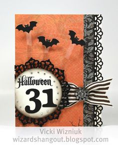 CTMH Halloween Card with Flying Bats.  by Vicki Wizniuk, CTMH Independent Consultant