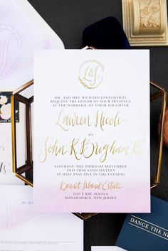 """blush watercolor wash and gold foil wedding invitations, custom calligraphy, logo envelope liner, watercolor envelope backdrop. """"dance the night away"""" reception card. Custom wedding invitation suite. Would't it be Lovely"""