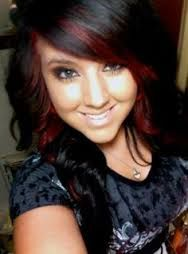 Image result for black hair with red highlights