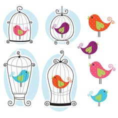Cute Bird Cage Clipart - Great for Scrapbooking, Cardmaking and Paper Crafts.. $4.00, via Etsy.