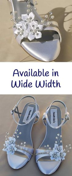 Shop a selection of Wide Width for weddings or other occasions. Sparkly Wedding Shoes, Satin Shoes, Wide Width Shoes, Bare Foot Sandals, White Satin, Beaded Flowers, Pearl Beads, Wedge Heels, Dream Wedding