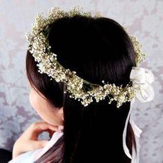 baby's breath hair wreath for flower girl Flower Girl Crown, Flower Crown Wedding, Bridal Flowers, Flower Bouquet Wedding, Floral Wedding, Flower Girl Dresses, Flower Girls, Flower Crowns, Hair Flowers