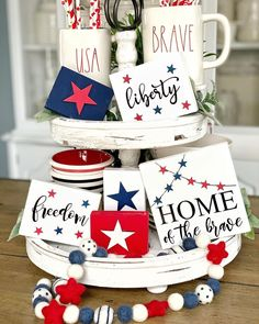 Fourth Of July Decor, 4th Of July Decorations, July 4th, Family Bbq, Big Family, Patriotic Crafts, July Crafts, Galvanized Tray, Tiered Stand