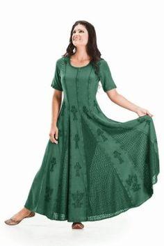 Holy Clothing Catriona Empire Flare Boho Godet Gypsy Peasant Long Dress Gown
