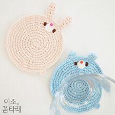 ✨ #손뜨개 토끼와 #곰 컵받침이에요~ 이 아이들은 아주 작은 꼬리를 가지고 있어요~ 보이시나요~? #Crochet #rabbit and #bear tea coasters~ They have a very small tail~ Can you see it? #손뜨개컵받침 #티코스터 #토끼컵받침 #곰코스터 #crochetcoaster #rabbitcoaster #amigurumi #crochetbear #isodreams #이소의꿈타래