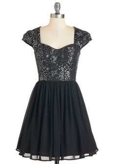 Just Glisten Dress. When you appear at the doorway decked out in this darling embroidered black dress, a hush falls upon the room as guests marvel at your stunning presence! #black #prom #modcloth