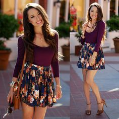 Wine Colored Top + Floral Circle Skirt