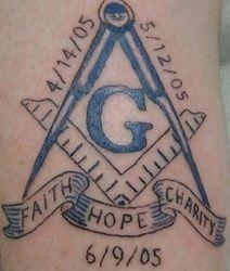 Memorial Masonic Tattoo With Faith Hope And Charity Banner Freemason Tattoo, Masonic Tattoos, Masonic Symbols, Freemasonry, Custom Tattoo, Deathly Hallows Tattoo, Mind Blown, I Tattoo, Charity