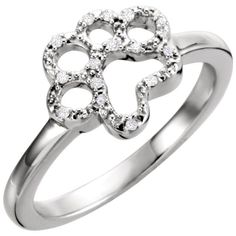 """""""Remember your loved one's life by saving another."""" This beautiful sterling silver ring features a diamond paw. The paw has fourteen 0.004 carat diamonds lining it. This simple and delicate ring is 1."""