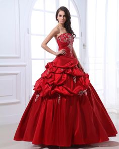 Satin Ruffle Beading Women Quinceanera Dress---- if only I wasn't too old for a quinceañera...