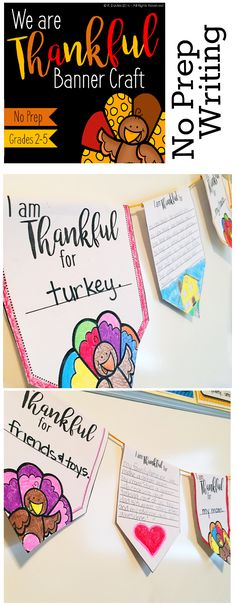 No Prep Thanksgiving Writing Craftivity - An engaging writing activity that can turn into a fun bulletin board display? Yes, please!! This November craft makes a cool pennant banner to show all the reasons your classroom is thankful this year.