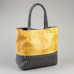 Snakeskin Tote with Studs