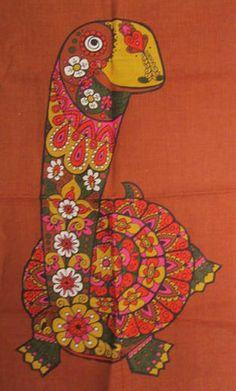 1960s psychedelic tortoise tea towel