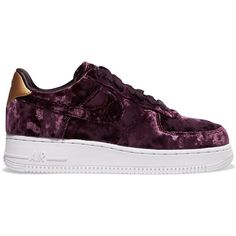 dbfccee83da Nike Air Force 1 metallic faux leather-trimmed crushed-velvet sneakers  ( 105) ❤ liked on Polyvore featuring shoes