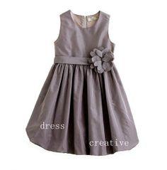 Grey Taffeta Flower Girl Dress