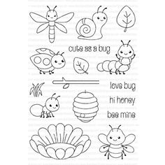 Clearly Besotted CUTE AS A BUG Clear Stamp Set *