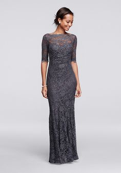 You will radiate pure elegance in this beautiful lace dress perfect for any Mother of the Bride dress! All over glitter lace dress with 3/4 sleeves features a scalloped boatneck and an illusion sweetheart neckline. Floor length mermaid silhouette is flattering and chic.