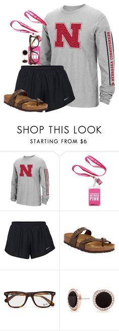 """GBR! Nebraska"" by amberfmillard-1 ❤ liked on Polyvore featuring adidas, NIKE, Birkenstock, Ray-Ban and Kate Spade"