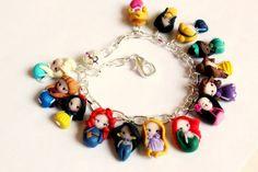 Disney Princesses inspired,bracelet collection. Disney bracelet. Disney jewelry. Clay charm. Princess Ariel, Anna,Elsa,Merida,Snowwhite...