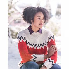 "584 Likes, 4 Comments - Brooklyn Tweed (@brooklyntweed) on Instagram: ""The Schulz pullover is a playful take on the classic ski sweater. Worked with three colors of…"""