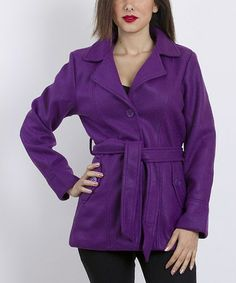 Take a look at this Purple Belted Peacoat by VELZERA on #zulily today!