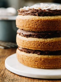 Almond cake with chocolate-coconut frosting via Oh, Ladycakes Vegan Sweets, Healthy Sweets, Vegan Desserts, Just Desserts, Delicious Desserts, Yummy Food, Cupcakes, Cupcake Cakes, Yummy Treats
