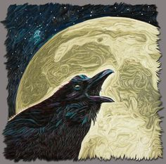 Raven Steals the Moon by Joseph Barbaccia of Potomac Falls, Virginia. Category: Polymer Clay #polymerclay, #raven, #moon