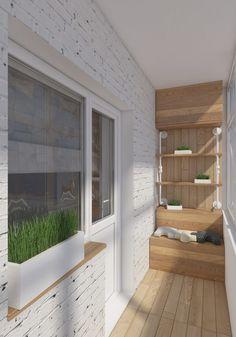 balcon de design scandinave, espace rangement en bois massif et parement mural…