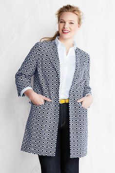 Trendy Plus size fashion for women WOMEN'S PLUS SIZE 3/4-SLEEVE COTTON JACQUARD JACKET love this look,  sleek and skimmng figure but not accentuating  arms .  fabric would have to be crisp,  not sure about the top front accent to avoid being too hot