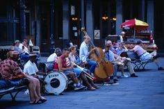 New Orleans musicians playing at Jackson's Square - New Orleans, Louisiana