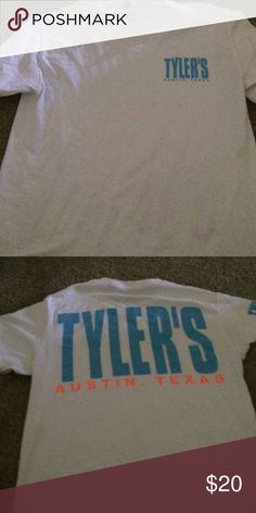 White and Blue Tyler's short sleeve shirt white Tyler's tshirt size small with blue writing Shirts & Tops Tees - Short Sleeve