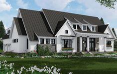 Modern Farmhouse Interiors, Modern Farmhouse Plans, Farmhouse Design, Rustic Farmhouse, Farmhouse Architecture, House Plans 3 Bedroom, Building Design, Building Homes, Building Ideas