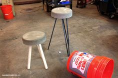 Create perfect bar stools with an orange Homer bucket, concrete mix and a little DIYing!